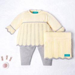 Saída Maternidade Tricot Vestido e Calça Elegance Amarelo 03 Peças