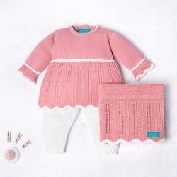 Saída Maternidade Tricot Vestido e Calça Elegance Rosa Chiclete 03 Peças