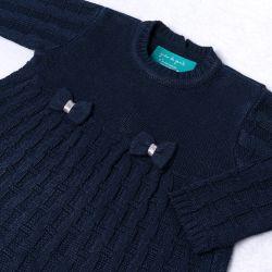 Saída Maternidade Tricot Vestido e Calça Tijolinho e Lacinhos Marinho 02 Peças