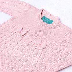 Saída Maternidade Tricot Vestido e Calça Tijolinho e Lacinhos Rosa 02 Peças