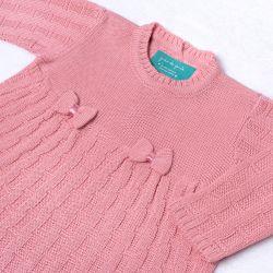 Saída Maternidade Tricot Vestido e Calça Tijolinho e Lacinhos Rosa Chiclete 02 Peças