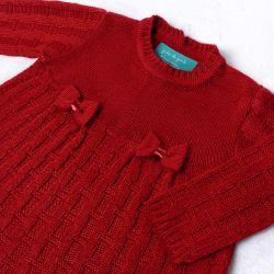 Saída Maternidade Tricot Vestido e Calça Tijolinho e Lacinhos Vermelho 02 Peças