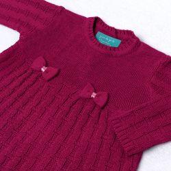 Saída Maternidade Tricot Vestido e Calça Tijolinho e Lacinhos Rosa Fúcsia 02 Peças