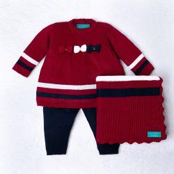 Saída Maternidade Tricot Vestido e Calça Navy Vermelho e Azul Marinho 03 Peças