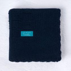 Manta Tricot Quadrado Perfeito Azul Marinho 80cm