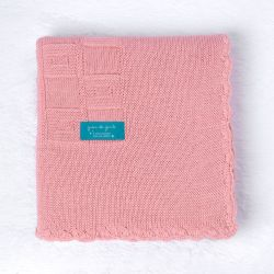 Manta Tricot Quadrado Perfeito Rosa Chiclete 80cm