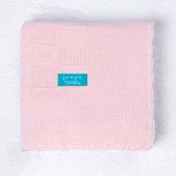 Manta Tricot Quadrado Perfeito Rosa 80cm
