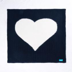 Manta Tricot Trança Coração Azul Marinho e Branco 80cm