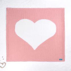 Manta Tricot Trança Coração Rosa Chiclete e Branco 80cm