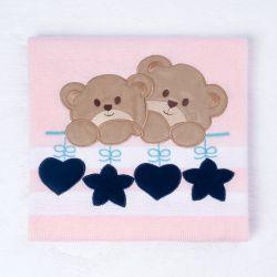 Manta Tricot Ursinhos, Coração e Estrela Rosa 80cm