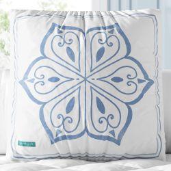 Almofada Quadrada Mandala Azul e Branco 30cm