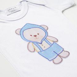 Body Manga Curta Ursinho Bebê Azul Tam PP