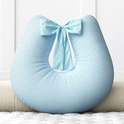 Almofada Amamentação Mini Poá Azul com Laço