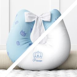 Almofada Amamentação Menino Príncipe Azul Frente e Verso com Laço