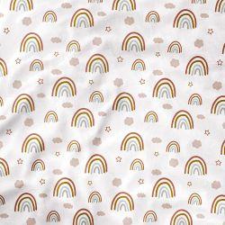 Lençol Berço com Elástico Arco-íris, Nuvem e Estrelinha Boho