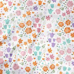 Lençol Berço com Elástico Buquê de Flores Colorido