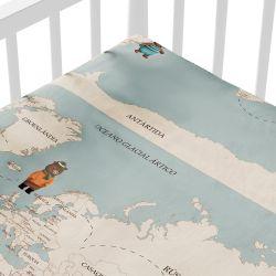 Lençol Berço com Elástico Teddy Pelo Mundo Mapa Mundi