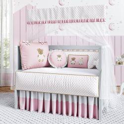 Quarto de Bebê Ursinha Floral Rosa