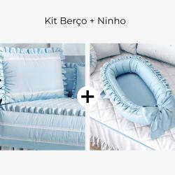 Kit Berço Azul Tranquilidade + Ninho para Bebê Azul Clássico