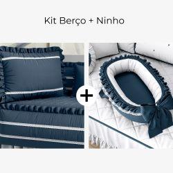 Kit Berço Azul Marinho Serenidade + Ninho para Bebê Azul Marinho Clássico