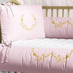 Kit Berço Arabesco Rosa e Dourado