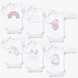 Kit Body Manga Longa Amiguinhas, Unicórnios e Ursinha Bebê Leve 6 Pague 5