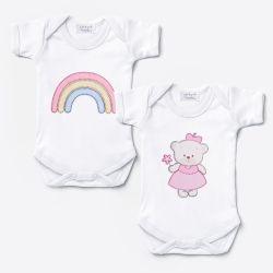 Kit Body Manga Curta Arco-íris e Ursinha Bebê 2 Peças