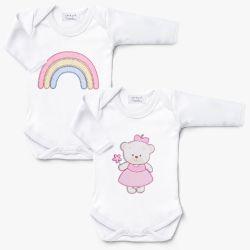 Kit Body Manga Longa Arco-íris e Ursinha Bebê 2 Peças
