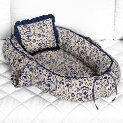 Ninho para Bebê Redutor de Berço Floral Luxo Azul Marinho 80cm