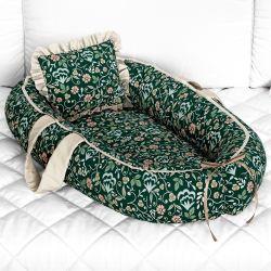 Ninho para Bebê Redutor de Berço Floral Luxo Verde 80cm