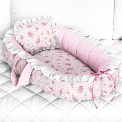 Ninho para Bebê Redutor de Berço Rosas Xadrez 80cm