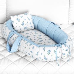 Ninho para Bebê Redutor de Berço Floral Liberty Azul 80cm