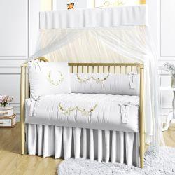 Quarto de Bebê Arabesco Branco e Dourado