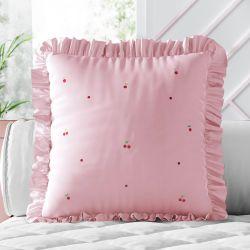Almofada Quadrada Cerejinhas Rosa 30cm