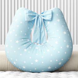 Almofada Amamentação Estrelinhas Azul com Laço