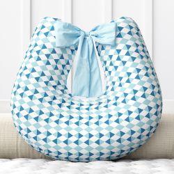 Almofada Amamentação Losango Azul com Laço