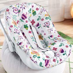 Capa de Bebê Conforto com Protetor de Cinto Floral Moderna