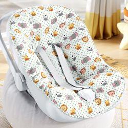 Capa de Bebê Conforto com Protetor de Cinto Amiguinhos Safári Poá
