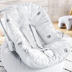 Capa de Bebê Conforto com Protetor de Cinto Patinhas Safári Cinza