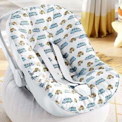 Capa de Bebê Conforto com Protetor de Cinto Carrinhos Azul e Bege