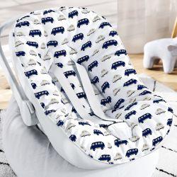 Capa de Bebê Conforto com Protetor de Cinto Carrinhos Azul Marinho e Cinza