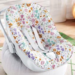Capa de Bebê Conforto com Protetor de Cinto Buquê de Flores Colorido