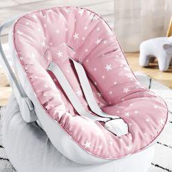 Capa de Bebê Conforto com Protetor de Cinto Estrelinhas Rosa e Branco