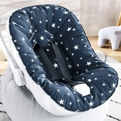 Capa de Bebê Conforto com Protetor de Cinto Estrelinhas Azul Marinho e Branco