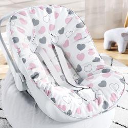 Capa de Bebê Conforto com Protetor de Cinto Coração Rosa e Cinza