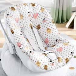 Capa de Bebê Conforto com Protetor de Cinto Fazendinha Poá