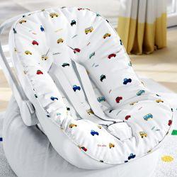 Capa de Bebê Conforto com Protetor de Cinto Carrinhos Coloridos