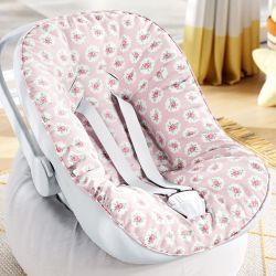 Capa de Bebê Conforto com Protetor de Cinto Floral Liberty Poá Rosa
