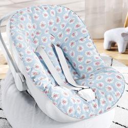 Capa de Bebê Conforto com Protetor de Cinto Floral Liberty Poá Azul