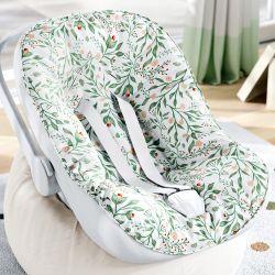 Capa de Bebê Conforto com Protetor de Cinto Folhas do Bosque Verde